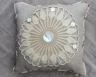 Vintage Crochet Doily Pillow on Linen, Vintage Buttons, Rusty Pink and Green Rose Backing,  So PaRiS rOMaNtiC!