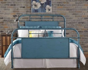 Queen Metal Farmhouse Bed, Urban Chic Painted Bed, beautiful distressed teal,ready to ship
