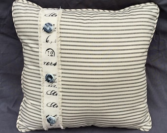 Black Ticking Pillow with Rag Edge French Stamped Ribbon, Vintage Buttons