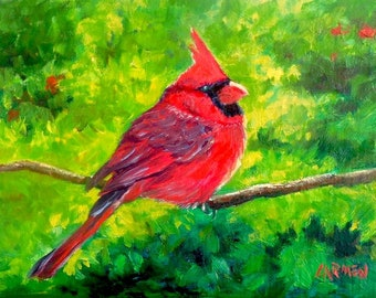 Oil Painting, Cardinal, 7x5 Bird Painting, Small Daily Painting, FREE SHIPPING