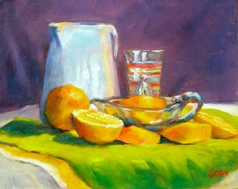 Sunshine Collection, 8x10 Original Oil Painting Still Life, Free Shipping in US
