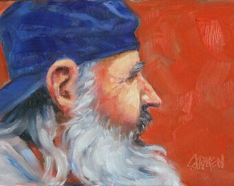 The Alaskan, 7x5 Original Oil Painting of Old Man in Alaska Wilds