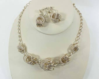 Necklace Earrings Germany Eloxal Aluminum Signed Screw Backs Gold 9147