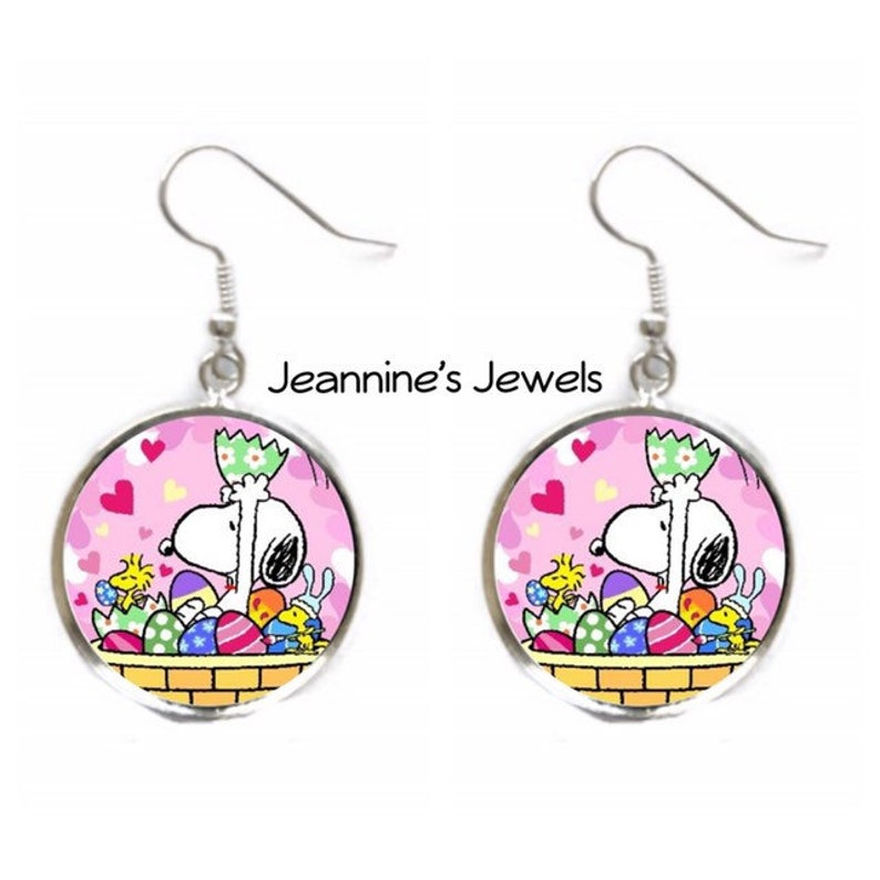 86b65782a SNOOPY Woodstock Easter Basket Eggs Earrings / Peanuts Easter   Etsy