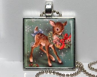 Vintage 1950s Christmas Card Reindeer Wreath Retro Kitsch Altered Art Pendant Charm Necklace