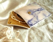 Leather Pouch for Headphones, Coins and Treasures - Marble and Sacred Scarab - Customizated & Personalisation available