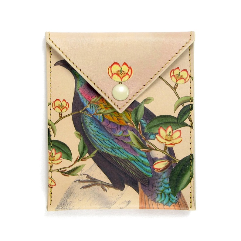 Gift For Women Himalayan Pheasant Bird Print with Flowers girlfriend gift Jewellery Pouch headphone holder