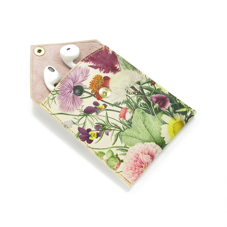 Real leather Headphone Pouch Jewellery Pouch Nature Flower Print Leather Purse Coin Pouch Gardeners Gifts for Women English Summer