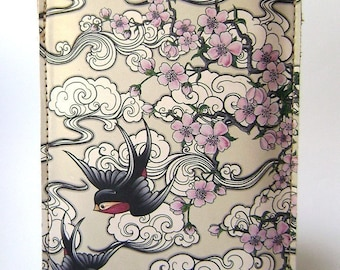 Leather iPhone, iTouch Case  Swallow and Cherry Blossom design