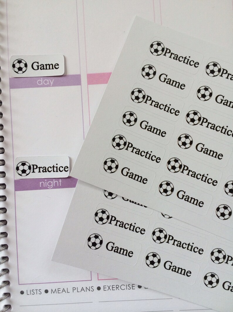 Planner Stickers 36 Scoccer Game and Practice Stickers Fits image 0