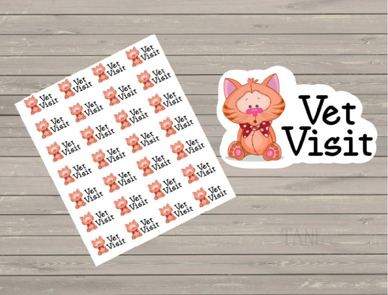 Vet Visit Planner Stickers Vet Appointment Cat Small image 0