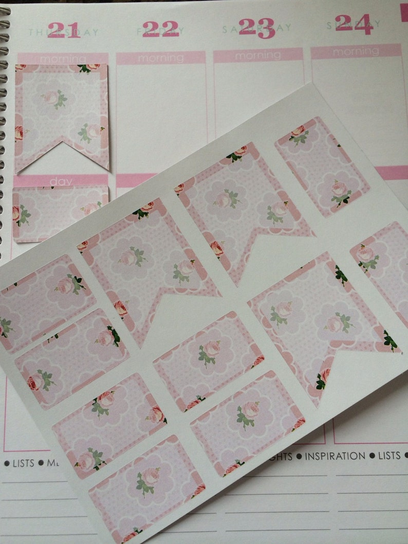 Half Boxes Flags Roses Stickers Planner Stickers Fits image 0