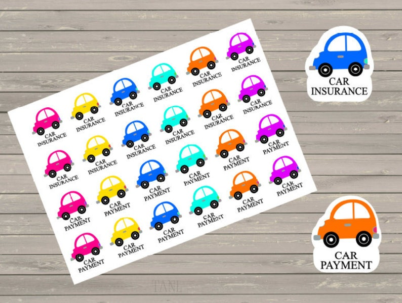 Planner Stickers Car Payment Stickers Happy Planner  Fits image 0
