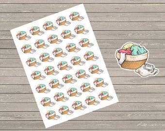 Laundry Baskets Planner Stickers, Happy Planner Small Laundry Basket, Chore Stickers Cleaning Stickers, Fits Erin Condren Planner, Stickers,