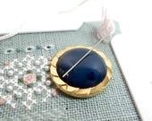 Navy Gold Needle Minder, Upcycled Vintage Button, Needle Magnet, Cross Stitch, Needlepoint, Needle Keeper, Magnetic Needle Minder