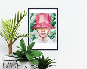 Pink Hat by Janna Coumoundouros Open Edition Watercolor Print on Giclee Paper
