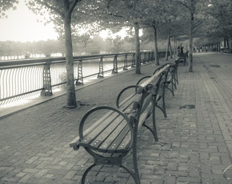 Fine Art Photography on Metallic Paper of Park Benches in Hoboken, NJ