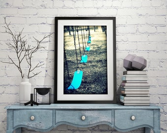 Fine Art Photography Playground Swings on Metallic paper, canvas, or metal plaque