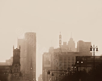 Fine Art Photography on Metallic Paper of Detroit In Fog, Soft Sepia Tone