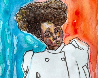 Untitled Fashion Watercolor by Janna Coumoundouros Open Edition Print on Giclee Paper