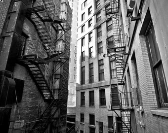 Chicago Alley Black and White Fine Art Photograph on Metallic Paper