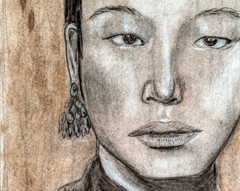 Charcoal Portrait by Janna Coumoundouros Open Edition Print on Giclee Paper