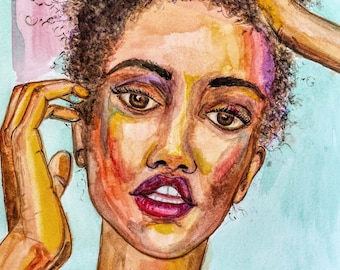Thoughts by Janna Coumoundouros Open Edition Watercolor Print on Giclee Paper