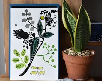 Signed original Ink drawing, botanical themed drawing