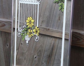 Marsel Retro Decorative Mirror With Hanging Birdcage Floral Design/Style  2030 E/Vintage