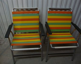 Retro Pair (2) Rubber Slat Vintage Lawn Chairs/Orange Yellow Green Color/ Patio/Backyard/Vintage
