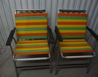 Retro Pair (2) Rubber Slat Vintage Lawn Chairs/Orange-Yellow-Green Color/Patio/Backyard/Vintage