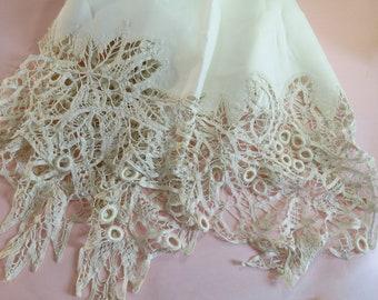 """Antique Battenberg lace, and linen centerpiece, w/ handmade lace, 32"""" square"""