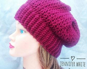 e8a98d5474c07 V-Stitch Crocheted Hat in Dark Red Womens