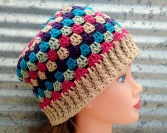 313dea3d7de Granny Stripe Hat Crochet Tan