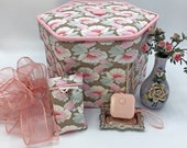 Tilda Maple Farm Fabric Covered Sewing Box Sewing Kit Quilted Needlecase Etui Cartonnage Sewing Gift Needlework Box