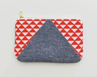 Geometric Red Triangle Zipper Pouch