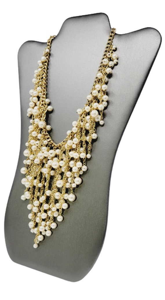 Vintage Arnold Scaasi Cascading Pearl Necklace