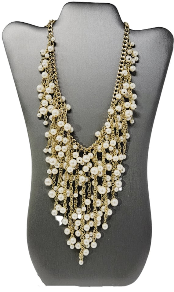 Vintage Arnold Scaasi Cascading Pearl Necklace - image 2