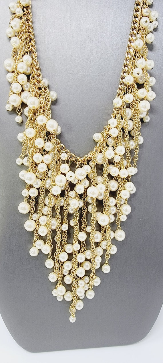 Vintage Arnold Scaasi Cascading Pearl Necklace - image 3