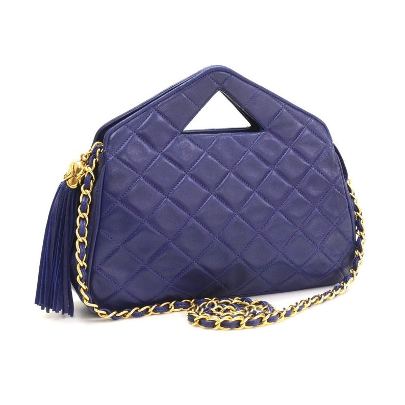 c119fb8a8a0b Vintage Chanel Navy Blue Lambskin Clutch Bag Shoulder Bag