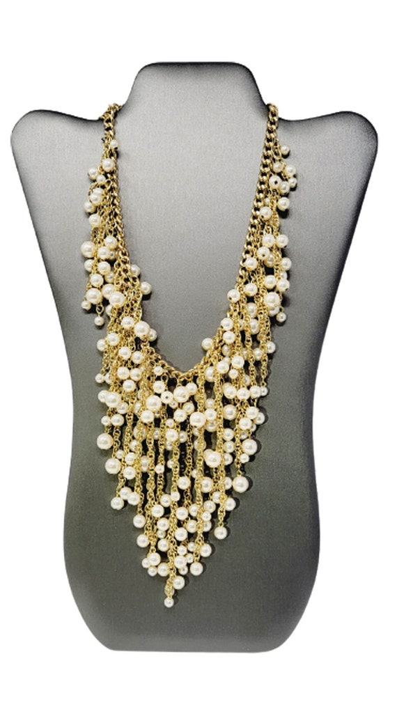 Vintage Arnold Scaasi Cascading Pearl Necklace - image 4