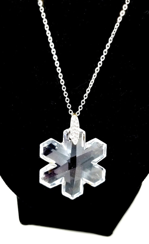 Vintage Couture Silver Swarovski Crystal Star Orna