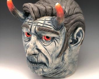 Honky tonk blue devil face jug