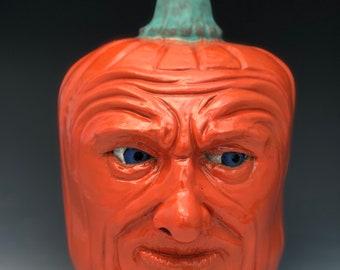 Pumpkin dude face jug
