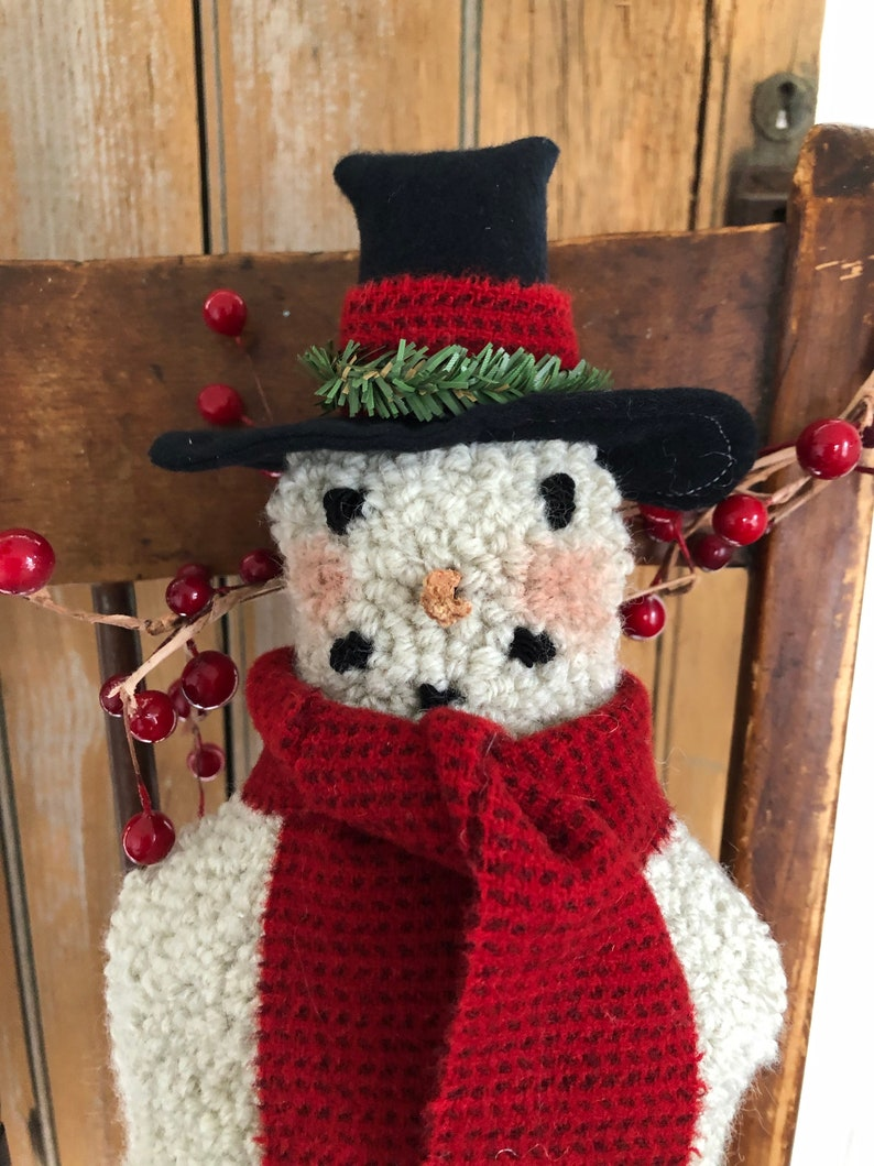 Punch Needle Snow Man with a Heart