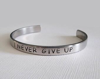 Braided Bracelet Friendship Bracelet Mantra Jewelry Stamped Aluminum Bracelet Macrame never give up Never Give Up Bracelet
