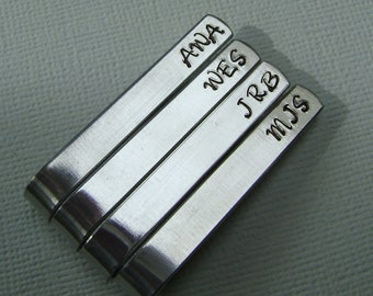 Set of 4 Personalized Tie Bars - Custom Tie Clips - Initials - Hand Stamped - Wedding Party
