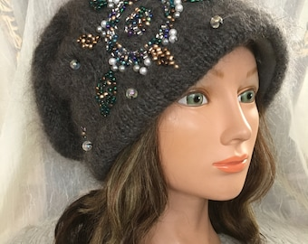 Knitted wool hat Russian hat goat down cashmere grey gray hat grey gray  felted flower warm wool winter hat 7caaf9865f0f