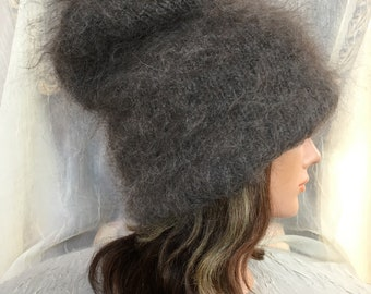 Knitted wool beanie hat Russian hat goat down cashmere grey gray hat grey  gray felted flower warm wool winter hat be373b9b0916
