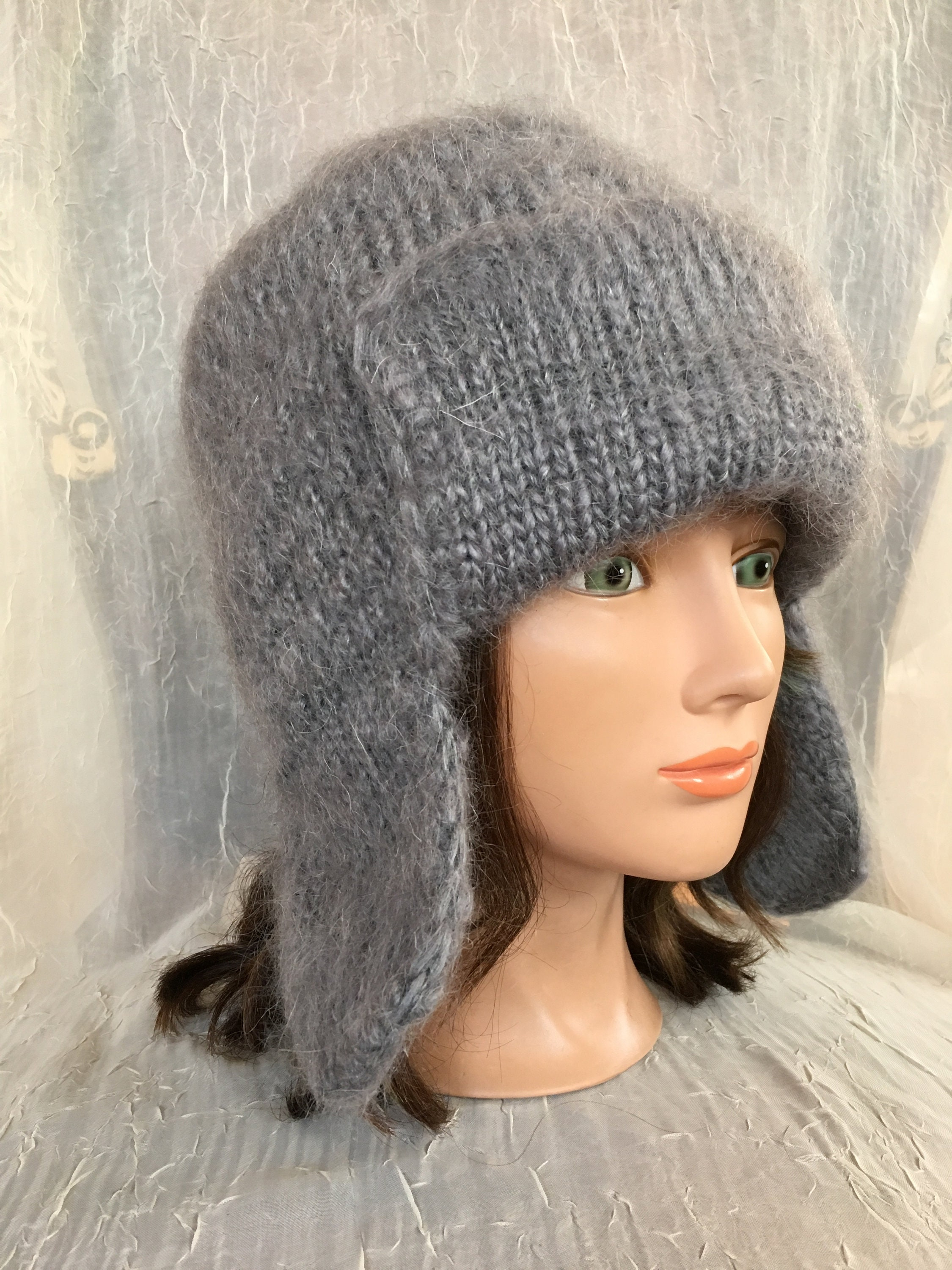 Knitted wool hat Russian hat goat down cashmere grey gray hat grey gray  felted flower warm wool winter hat 2495f16d769